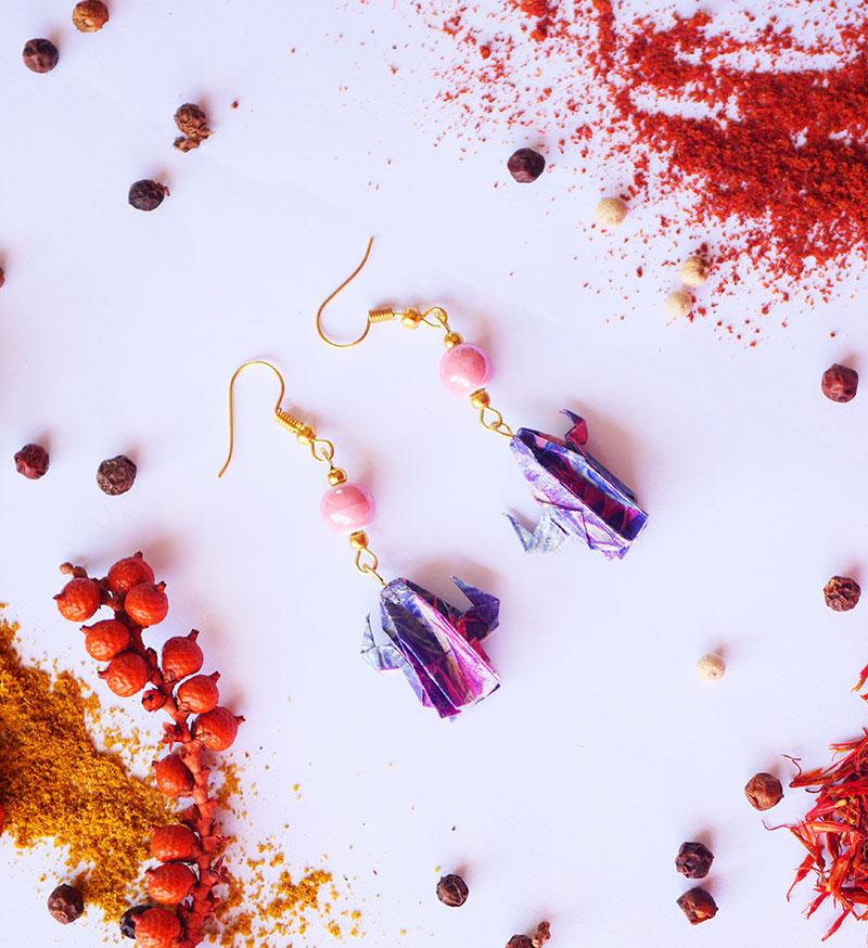 Gebetnout bijoux fantaisie lyon mode tendance bijouterie femme Annecy artisan Licancabur origami cactus rose violet