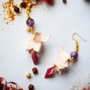 Gebetnout bijoux fantaisie lyon mode tendance bijouterie femme Annecy artisan Licancabur origami elephant rose amethyste