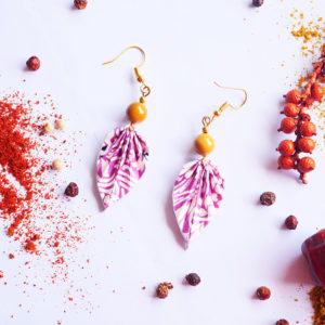 Gebetnout bijoux fantaisie lyon mode tendance bijouterie femme Annecy artisan Licancabur origami feuille jaune violet jaspe