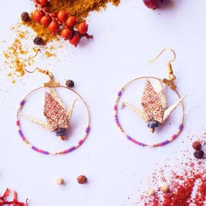 Gebetnout bijoux fantaisie lyon mode tendance bijouterie femme Annecy artisan Licancabur origami grue doré miyuki amethyste