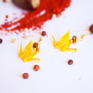 Gebetnout bijoux fantaisie lyon mode tendance bijouterie femme Annecy artisan Licancabur origami grue jaune dore