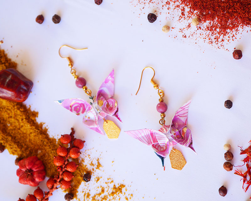Gebetnout bijoux fantaisie lyon mode tendance bijouterie femme Annecy artisan Licancabur origami papillon rose rhodalite