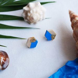 Gebetnout bijoux fantaisie lyon mode tendance bijouterie femme Annecy artisan Opunohu geometrie bois hexagone puce bleu feuille or