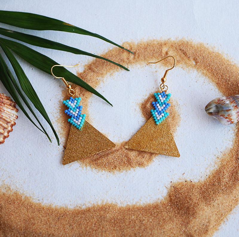 Gebetnout bijoux fantaisie lyon mode tendance bijouterie femme Annecy artisan Opunohu geometrie triangle bleu turquoise tissage miyuki