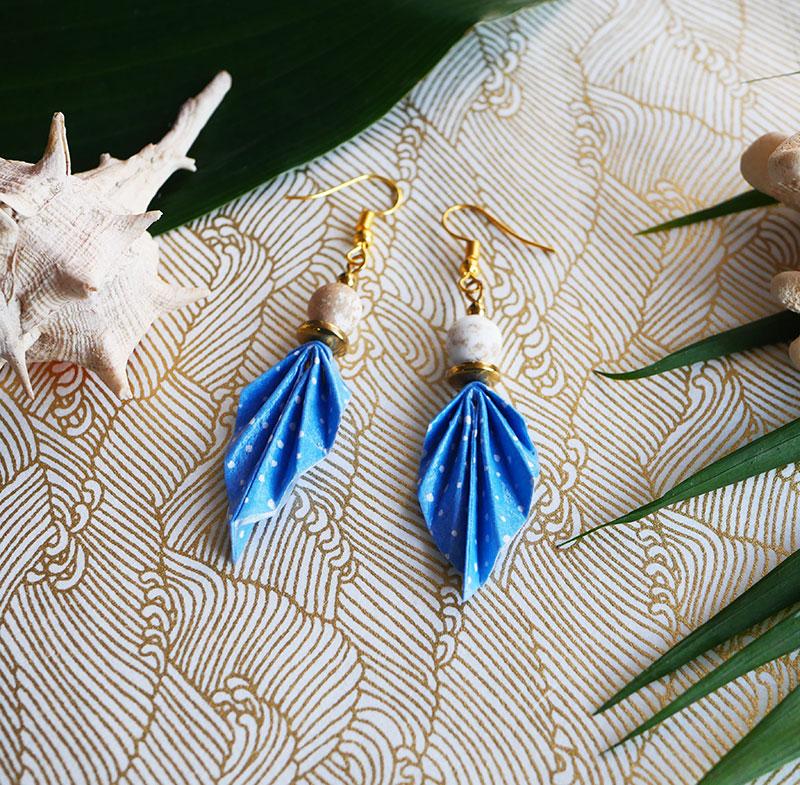 Gebetnout bijoux fantaisie lyon mode tendance bijouterie femme Annecy artisan Opunohu origami feuille bleu magnesite dore