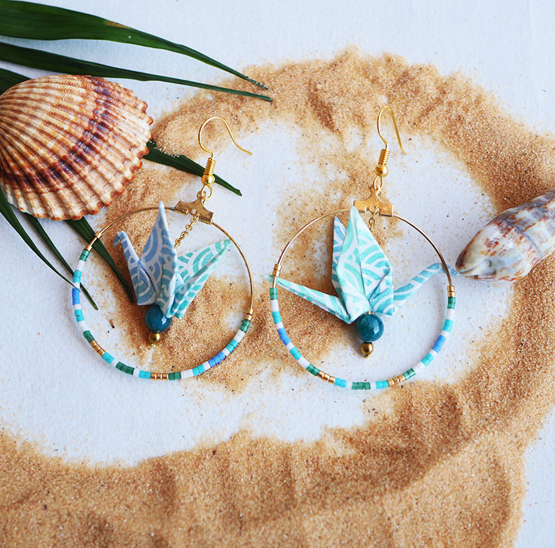 Gebetnout bijoux fantaisie lyon mode tendance bijouterie femme Annecy artisan Opunohu origami grue bleu turquoise jade miyuki