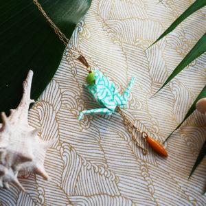 Gebetnout bijoux fantaisie lyon mode tendance bijouterie femme Annecy artisan Opunohu origami grue collier turquoise jaune vert dore