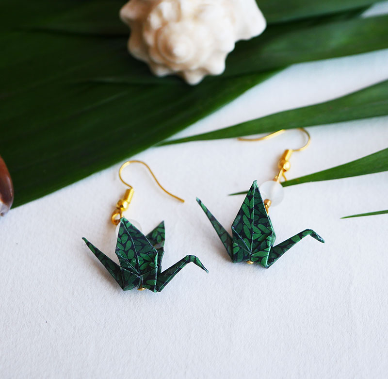 Gebetnout bijoux fantaisie lyon mode tendance bijouterie femme Annecy artisan Opunohu origami grue vert quartz