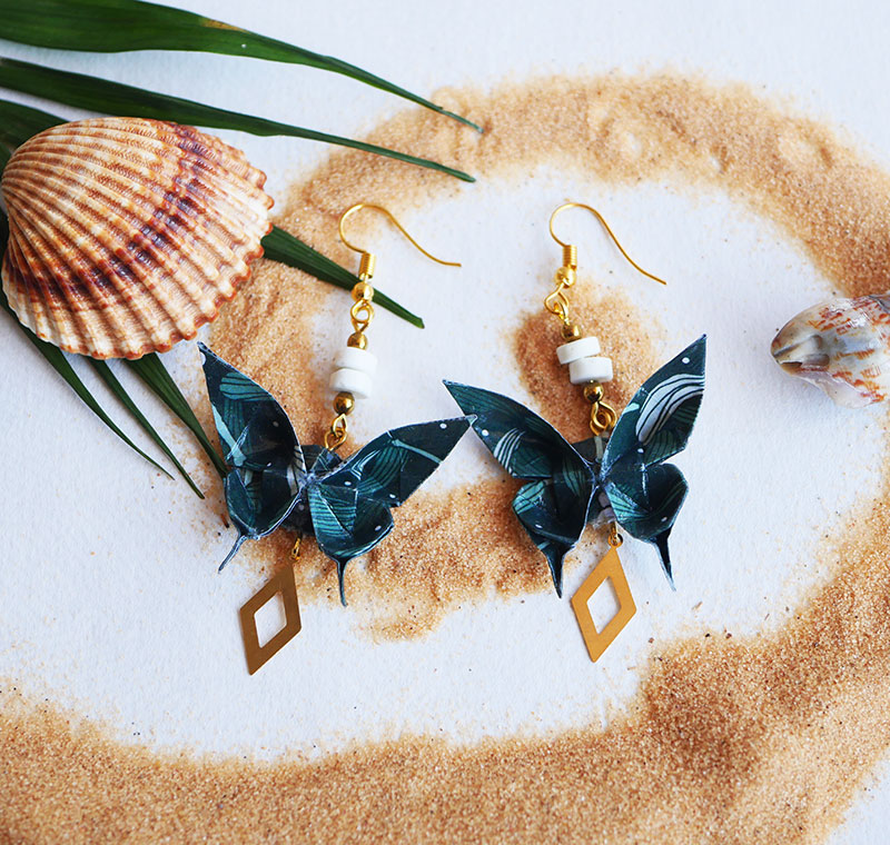 Gebetnout bijoux fantaisie lyon mode tendance bijouterie femme Annecy artisan Opunohu origami papillon vert magnesite losange