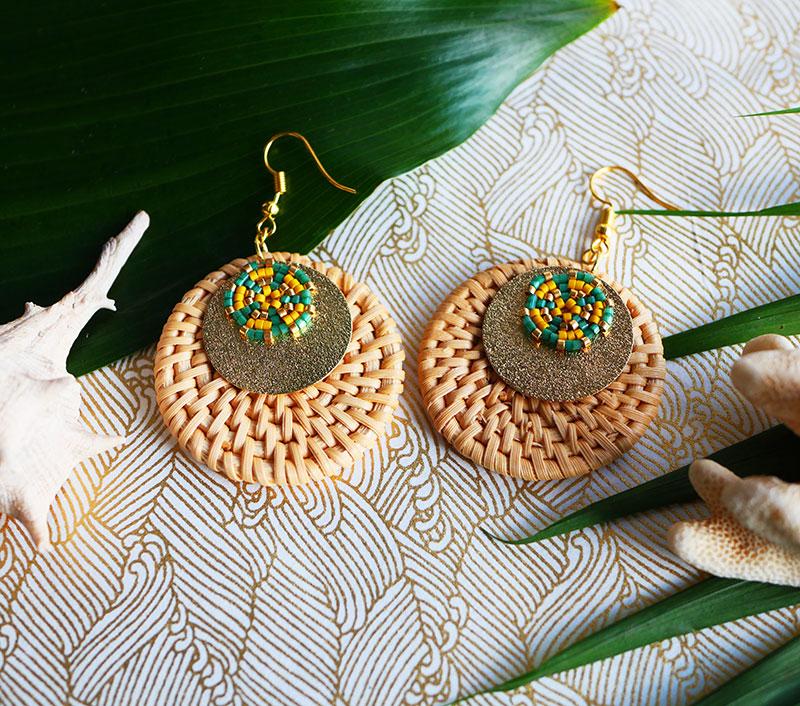 Gebetnout bijoux fantaisie lyon mode tendance bijouterie femme Annecy artisan Opunohu rotin jaune vert osier miyuki