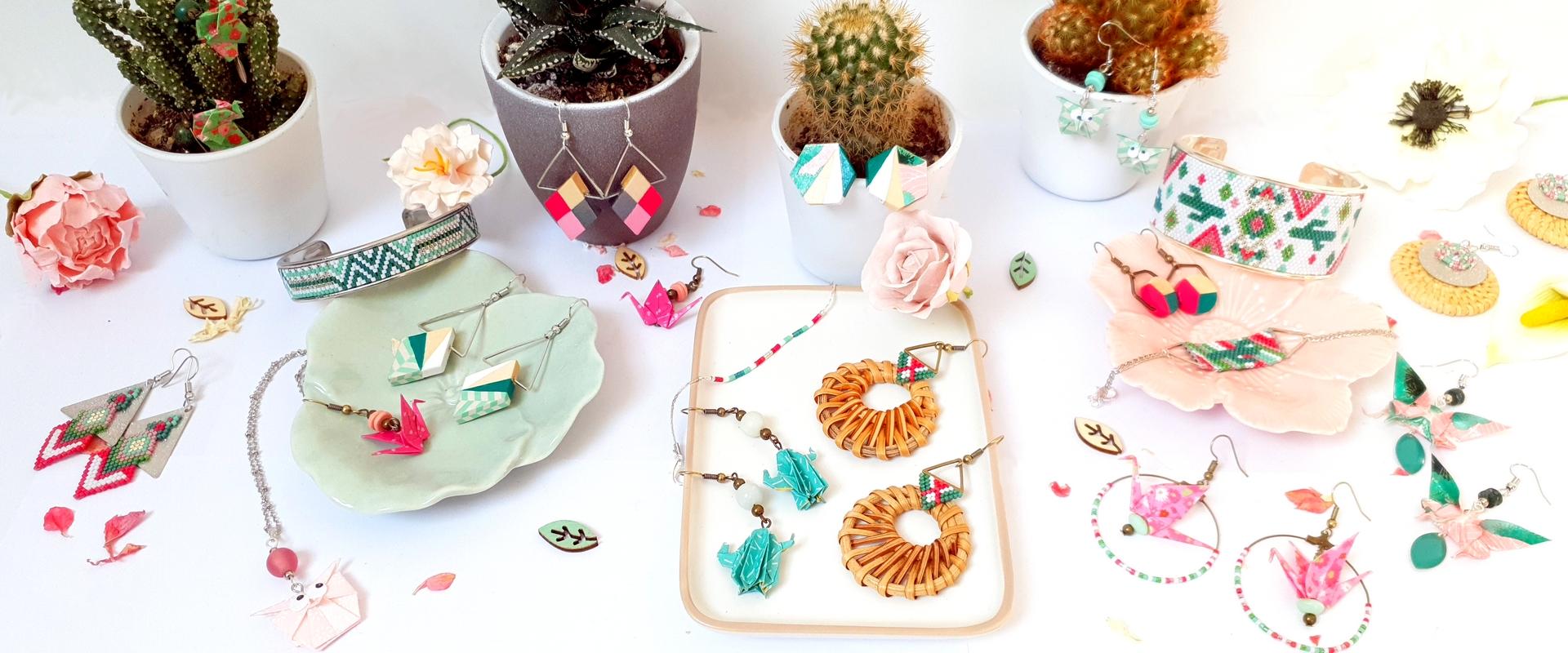 Gebetnout bijoux fantaisie lyon mode tendance bijouterie femme Annecy artisan collection printemps incahuasi rose vert cactus bolivie uyuni