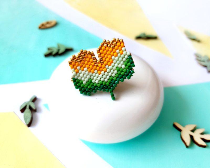 Gebetnout bijoux fantaisie lyon mode tendance bijouterie femme Annecy artisan pins kit diy Miyuki brickstitch ginkgo