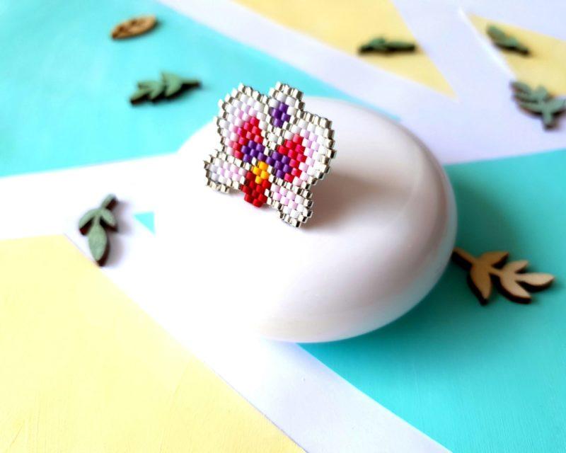 Gebetnout bijoux fantaisie lyon mode tendance bijouterie femme Annecy artisan pins kit diy Miyuki brickstitch orchidée