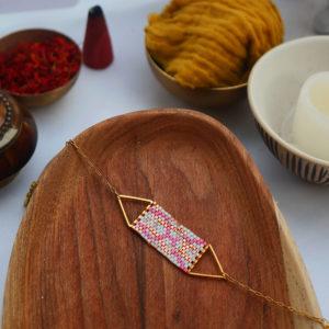 Gebetnout bijoux fantaisie lyon mode tendance bijouterie femme Annecy artisan watthanaram ayutthaya miyuki geometrie bracelet triangle racine rose peche cuivre blanc