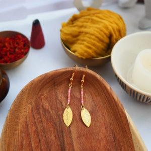 Gebetnout bijoux fantaisie lyon mode tendance bijouterie femme Annecy artisan watthanaram ayutthaya miyuki geometrie petale saumon dore