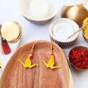 Gebetnout bijoux fantaisie lyon mode tendance bijouterie femme Annecy artisan watthanaram ayutthaya origami grue agate jaune dore