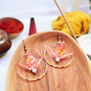 Gebetnout bijoux fantaisie lyon mode tendance bijouterie femme Annecy artisan watthanaram ayutthaya origami grue orange jaune cuivre beryl creole