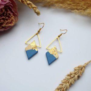 Gebetnout bijoux fantaisie lyon mode tendance bijouterie femme Annecy artisan Licancabur bois japonais geometrie losange bleu jean feuille or dore
