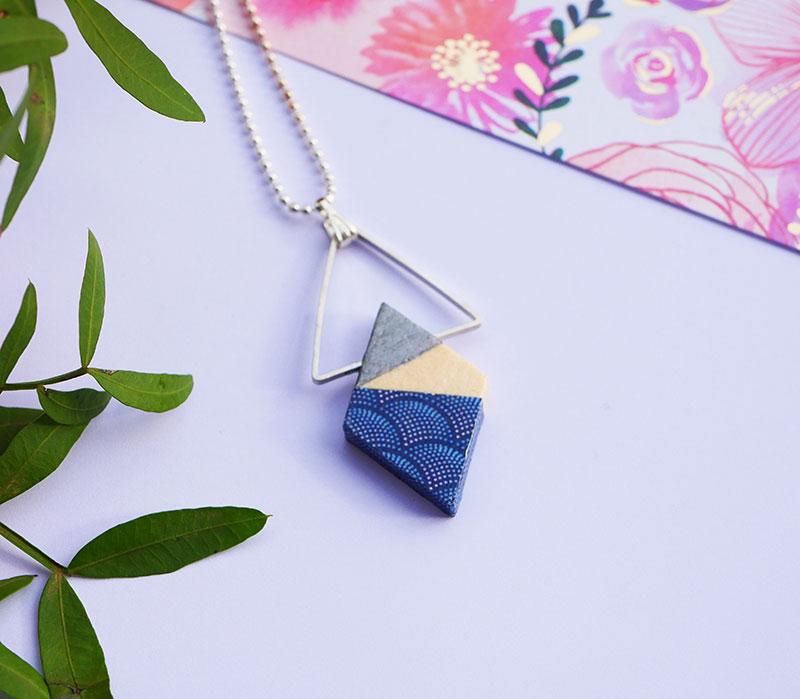 Gebetnout bijoux fantaisie lyon mode tendance bijouterie femme Annecy artisan bois japonais geometrie losange papier japon argent bleu