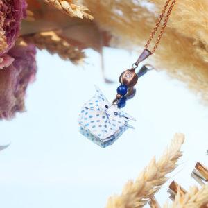 Gebetnout bijoux fantaisie lyon mode tendance bijouterie femme Annecy artisan origami sautoir collier hibou chouette blanc pois bleu