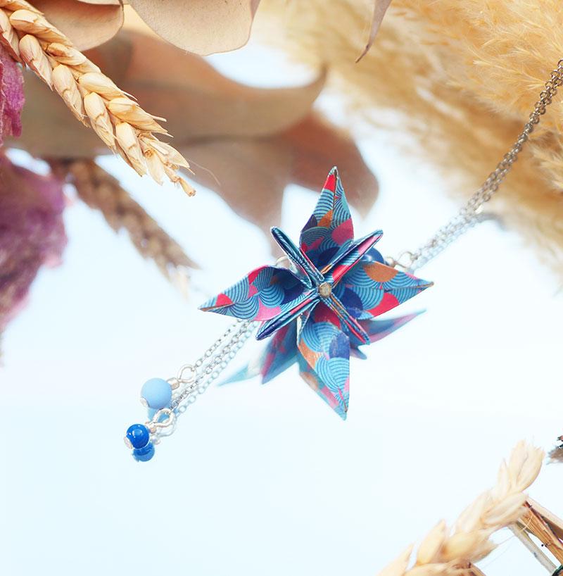 Gebetnout bijoux fantaisie lyon mode tendance bijouterie femme Annecy artisan origami sautoir collier fleur oranger bleu rose rouge argent