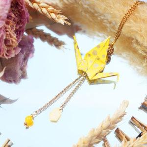 Gebetnout bijoux fantaisie lyon mode tendance bijouterie femme Annecy artisan Licancabur sautoir origami grue jaune pois dore or