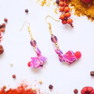 Gebetnout bijoux fantaisie lyon mode tendance bijouterie femme Annecy artisan Licancabur origami lapin rose rouge dore