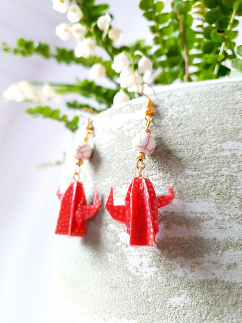 Gebetnout bijoux fantaisie lyon mode tendance bijouterie femme Annecy artisan origami cactus corail howlite