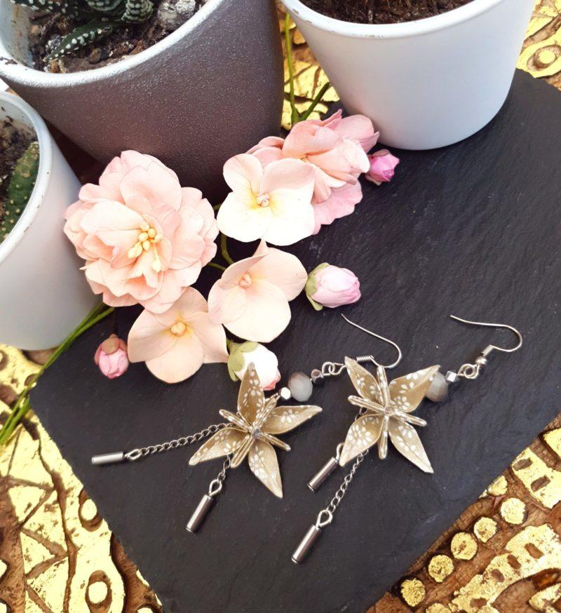 Gebetnout bijoux fantaisie lyon mode tendance bijouterie femme Annecy artisan Incahuasi origami fleur oranger argenté hématite