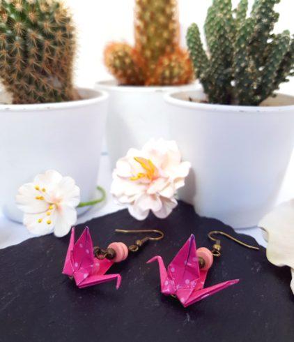 Gebetnout bijoux fantaisie lyon mode tendance bijouterie femme Annecy artisan Incahuasi origami grue rose poisi