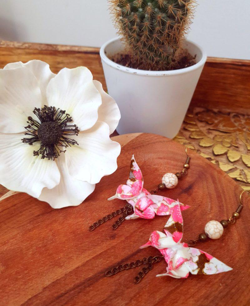 Gebetnout bijoux fantaisie lyon mode tendance bijouterie femme Annecy artisan Incahuasi origami papillon rose howlite