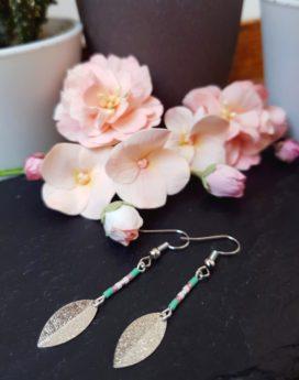 Gebetnout bijoux fantaisie Lyon mode tendance bijouterie femme Annecy artisan Incahuasi pétale miyuki vert rose