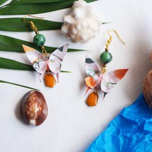 Gebetnout bijoux fantaisie lyon mode tendance bijouterie femme Annecy artisan Opunohu origami papillon jaune vert rubyzoisite