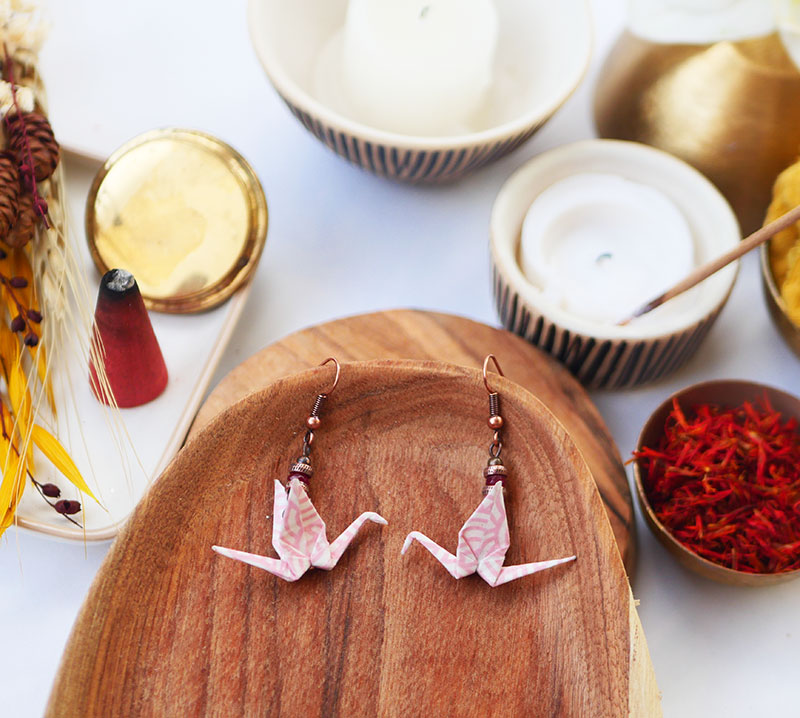 Gebetnout bijoux fantaisie lyon mode tendance bijouterie femme Annecy artisan watthanaram ayutthaya origami grue rose framboise cuivre