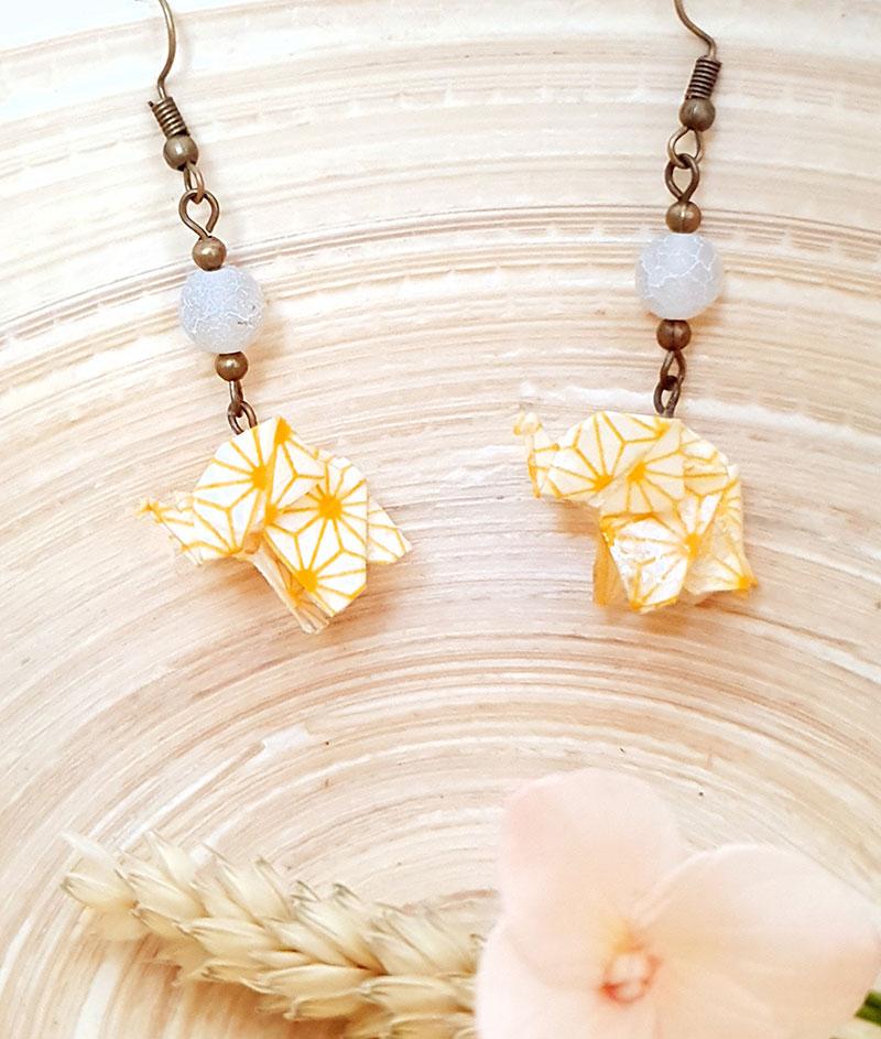 Gebetnout bijoux fantaisie lyon mode tendance bijouterie femme annecy artisan origami elephant jaune blanc bronze