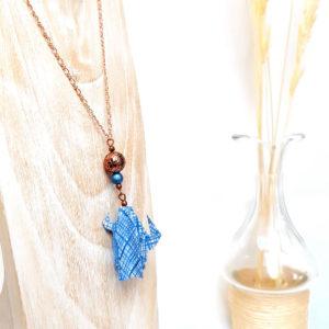 Gebetnout bijoux fantaisie lyon mode tendance bijouterie femme annecy artisan origami sautoir cactus bleu cuivre