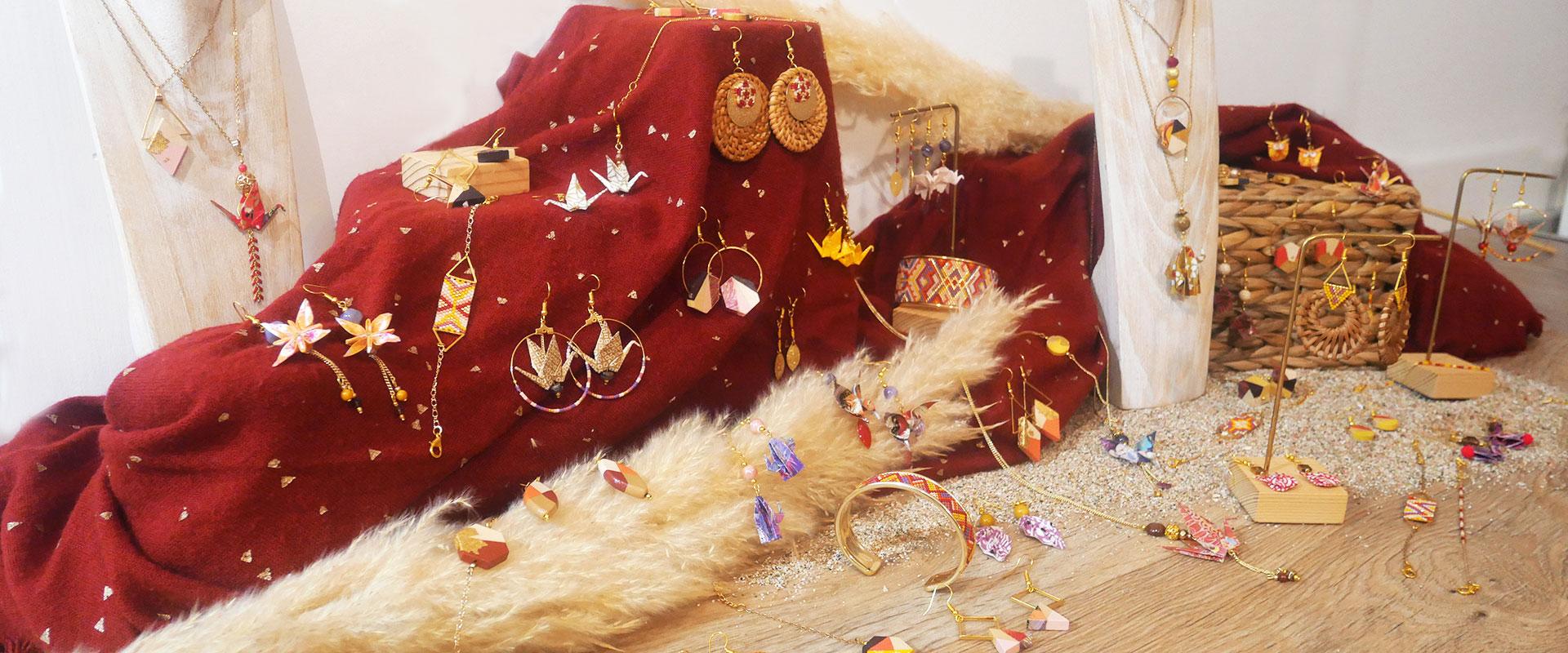 Gebetnout bijoux fantaisie lyon mode tendance bijouterie femme Annecy artisan collection automne licancabur chili atacama rouge jaune violet