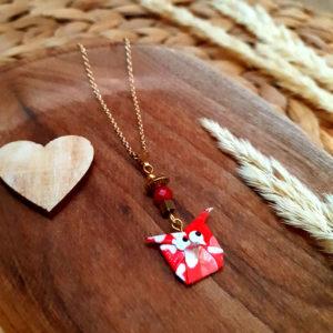 Gebetnout bijoux fantaisie lyon mode tendance bijouterie femme annecy artisan origami collier hibou chouette rose