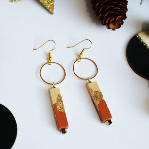 Gebetnout bijoux fantaisie lyon mode tendance bijouterie femme Annecy artisan bois cercle barre marron feuille or