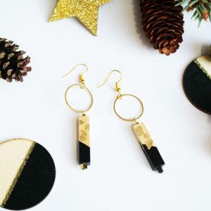 Gebetnout bijoux fantaisie lyon mode tendance bijouterie femme Annecy artisan bois cercle barre noir feuille or