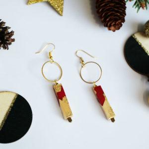 Gebetnout bijoux fantaisie lyon mode tendance bijouterie femme Annecy artisan bois cercle barre rouge feuille or