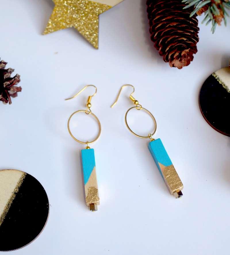 Gebetnout bijoux fantaisie lyon mode tendance bijouterie femme Annecy artisan bois cercle barre turquoise feuille or