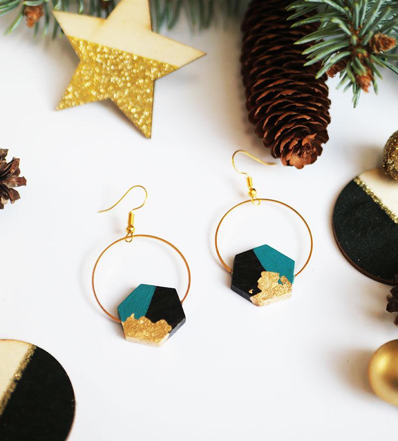 Gebetnout bijoux fantaisie lyon mode tendance bijouterie femme Annecy artisan bois ebene cercle hexagone bleu canard feuille or