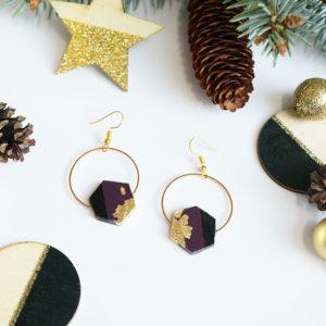 Gebetnout bijoux fantaisie lyon mode tendance bijouterie femme Annecy artisan bois ebene cercle hexagone prune feuille or
