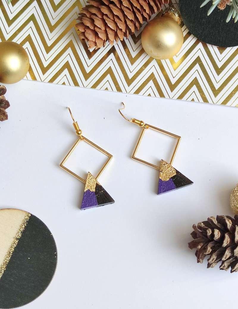 Gebetnout bijoux fantaisie lyon mode tendance bijouterie femme Annecy artisan bois ebene losange triangle indigo feuille or