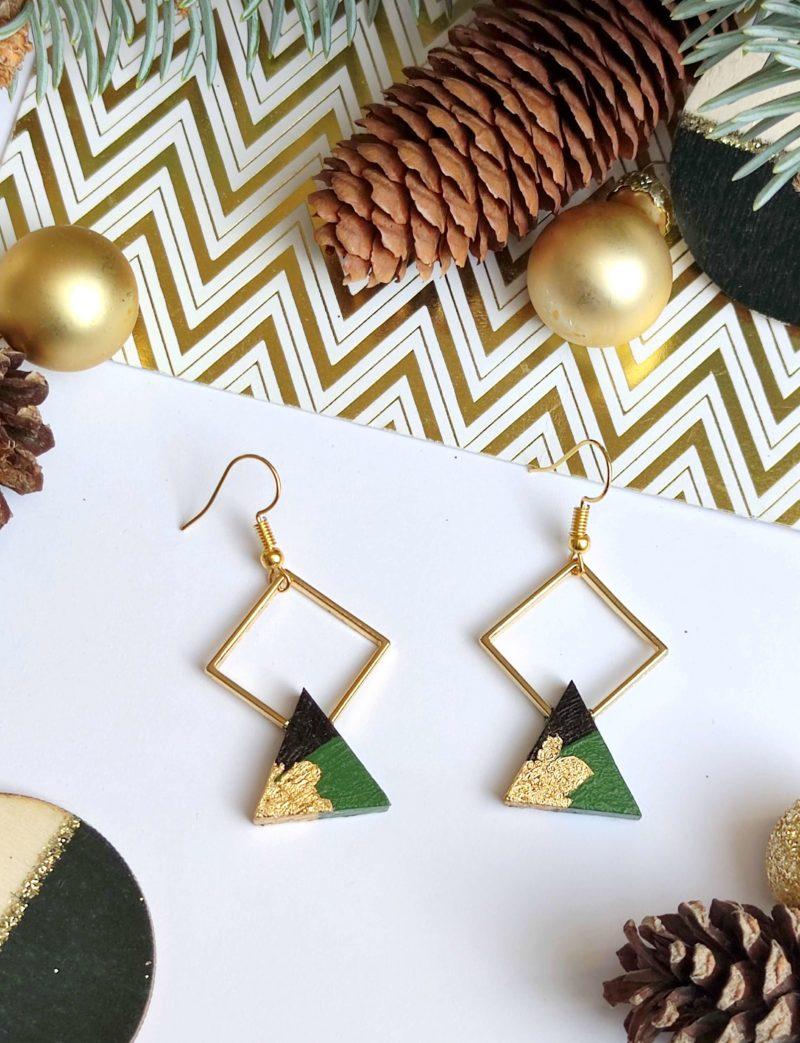 Gebetnout bijoux fantaisie lyon mode tendance bijouterie femme Annecy artisan bois ebene losange triangle vert feuille or