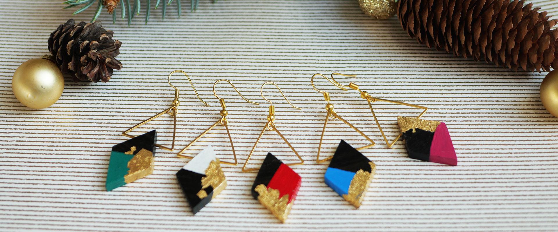 Gebetnout bijoux fantaisie lyon mode tendance bijouterie femme Annecy artisan bois ebene peinture geometrie triangle losange dore