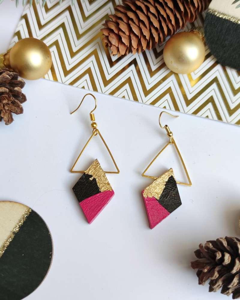 Gebetnout bijoux fantaisie lyon mode tendance bijouterie femme Annecy artisan bois ebene triangle losange rose feuille or