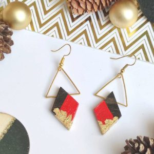 Gebetnout bijoux fantaisie lyon mode tendance bijouterie femme Annecy artisan bois ebene triangle losange rouge feuille or