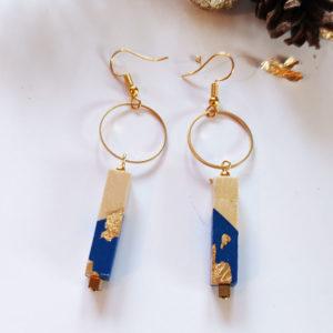 Gebetnout bijoux fantaisie lyon mode tendance bijouterie femme Annecy artisan bois cercle barre bleu klein feuille or